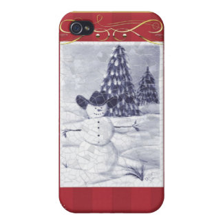 Cowboy Snowman Mosiac Covers For iPhone 4