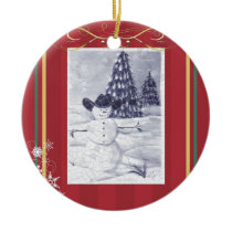 Cowboy Snowman Mosiac Ornament