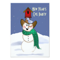 Cowboy Snowman New Year's Eve Party Card