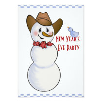 Cowboy Snowman New Years Eve Party Card