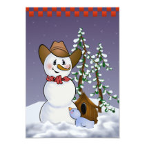 Cowboy Snowman New Years Eve Party Invitation
