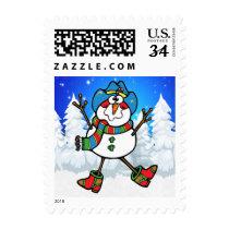Cowboy Snowman On Winter Scene Postage