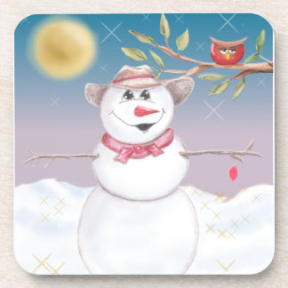 Cowboy Snowman & Owl Winter Scene Drink Coaster