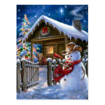 Cowboy Snowman Postcard
