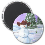 Cowboy Snowman Refrigerator Magnets