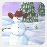 Cowboy Snowman Square Sticker