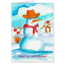 Cowboy Snowman Watercolor Merry Christmas Card