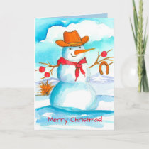 Cowboy Snowman Watercolor Merry Christmas Holiday Card