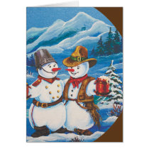 Cowboy Snowman With Beer Card