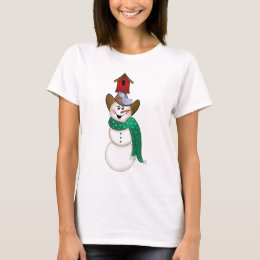 Cowboy Snowman with Birdhouse T-Shirt