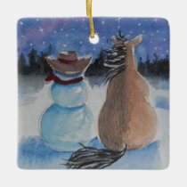 Cowboy Snowman with Horse Christmas Holiday Ceramic Ornament