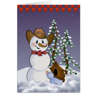 Cowboy Snowman with Red Bandana Card