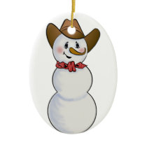 Cowboy Snowman with Red Bandana Ceramic Ornament