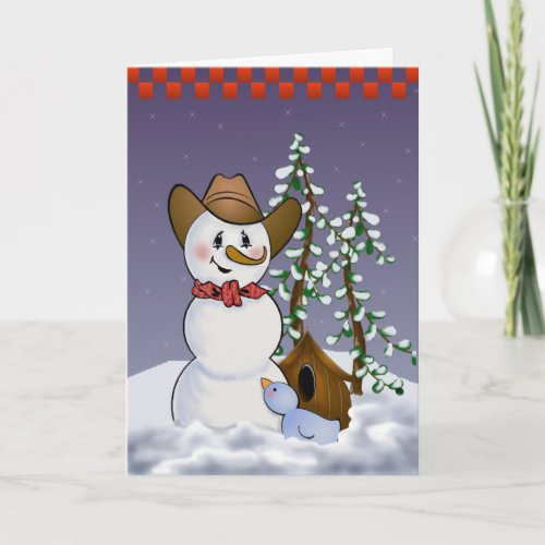 Cowboy Snowman with Red Bandana Holiday Card