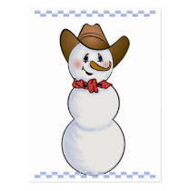 Cowboy Snowman with Red Bandana Postcard