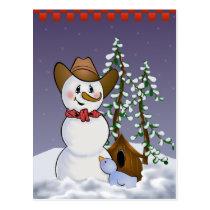 Cowboy Snowman with Red Bandana Postcard