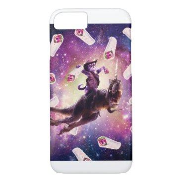 Cowboy Space Cat On Dinosaur Unicorn - Burrito iPhone 8/7 Case