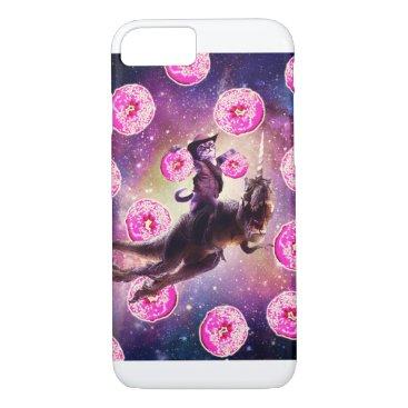 Cowboy Space Cat On Dinosaur Unicorn - Donut iPhone 8/7 Case