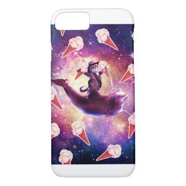 Cowboy Space Cat On Dolphin Unicorn - Ice Cream iPhone 8/7 Case