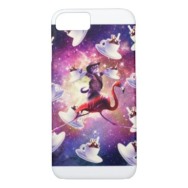 Cowboy Space Cat On Flamingo Unicorn - Coffee iPhone 8/7 Case