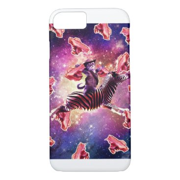 Cowboy Space Cat On Zebra Unicorn With Bacon iPhone 8/7 Case