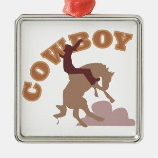 Cowboy Square Metal Christmas Ornament