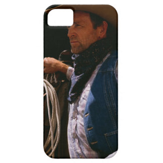 Cowboy standing by saddle with rope iPhone SE/5/5s case