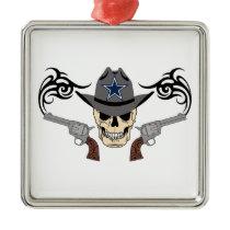 Cowboy Star Skull Metal Ornament