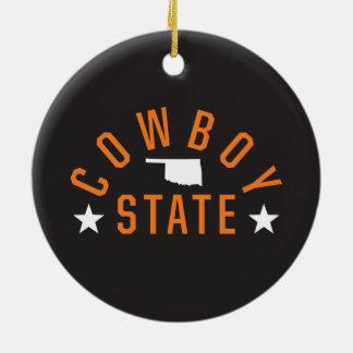 Cowboy State Ceramic Ornament