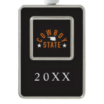 Cowboy State Silver Plated Framed Ornament