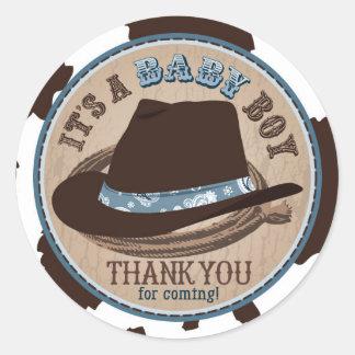 Cowboy Stetson Hat Western Baby Shower Classic Round Sticker