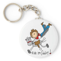 Cowboy Stick Figure Tshirts and Gifts Keychain