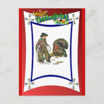 Cowboy style turkey catching holiday postcard
