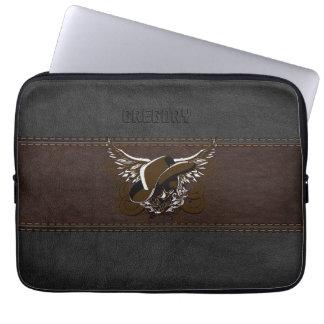 Cowboy Sugar Skull Brown & Black Leather Laptop Sleeve