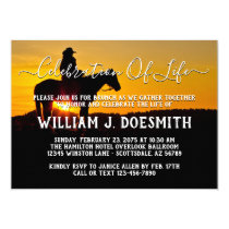 Cowboy Sunset Funeral Memorial Service Invitation