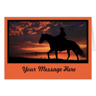 Cowboy Sunset in orange Greeting Card