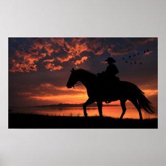 Cowboy Sunset Poster