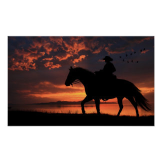Cowboy Sunset Posters