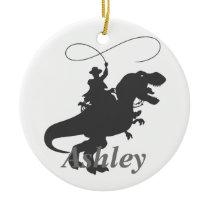 Cowboy  t-rex  silhouette ceramic ornament