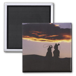 Cowboy Team with Lassoes 2 Inch Square Magnet