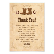 Cowboy Thank You Card Western Old Style Vintage