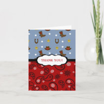 Cowboy Thank You Note / red blue paisley boots