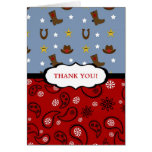 Cowboy Thank You Note / red blue paisley boots Stationery Note Card