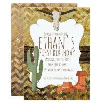 Cowboy Themed Birthday Invitation