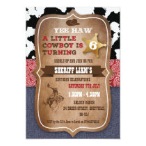 Cowboy themed birthday party invitation
