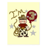 Cowboy Third Birthday T-shirts and Gifts Post Cards
