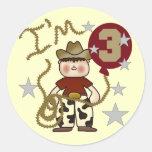Cowboy Third Birthday T-shirts and Gifts Round Sticker