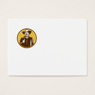 Cowboy Thumbs Up Sunburst Circle Woodcut Business Card