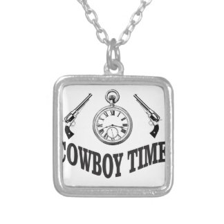 cowboy time logo silver plated necklace