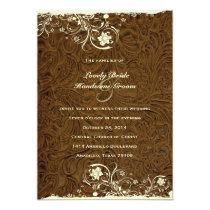 Cowboy Tooled Leather Style Wedding Invitation
